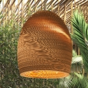 Single Light Basket Lamp Light Asian Style Paper Hanging Pendant Light in Brown for Sitting Room