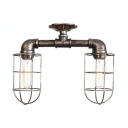 Pipe Semi Flush Light with Wire Guard Nautical Industrial Style 2 Lights Ceiling Lamp in Antique Bronze/Antique Silver