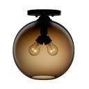 2 Lights Globe Semi Flush Ceiling Light with Colorful Glass Shade Minimalist Semi Flush Mount Light