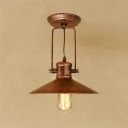 Rust Finish Saucer Ceiling Fixture with Metal Shade Retro Loft Style 1 Head Ceiling Lamp for Kitchen