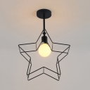 Minimalist Open Bulb Semi Flush Mount with Five-pointed Star Metal Frame 1 Light Ceiling Fixture in Black