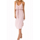 Women's Simple Plain Elastic Bow-Tied Waist Split Hem Pink Midi Cami Dress