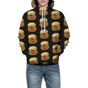 All Over Hamburger 3D Printing Long Sleeve Casual Loose Black Drawstring Hoodie
