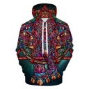 Cool Unique 3D Elephant Print Casual Loose Fit Long Sleeve Pullover Drawstring Hoodie