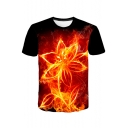 Stylish 3D Fire Floral Printed Basic Short Sleeve Red T-Shirt