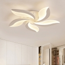 3/5 Lights Leaf Design LED Ceiling Fixture Modernism Acrylic Semi Flush Light Fixture in White