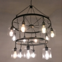 2 Tiers Wheel Chandelier Lamp with Cylinder Glass Shade Retro Style Multi Light Lamp Light in Black