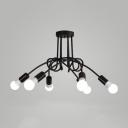 Twist Suspension Industrial Modern Metallic 6 Lights Hanging Ceiling Lamp in Black