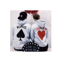 Popular Heart King Queen Graphic Printed Casual Loose Grey Hoodie for Couple