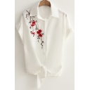 Fancy Floral Embroidered Short Sleeve Tied Waist Button Down White Linen Shirt