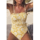 Summer Yellow Floral Printed Drawstring Waist Ruffle Trim One-Piece Swimwear