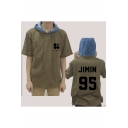 Kpop Fashion Denim Patched Short Sleeve Drawstring Hooded T-Shirt in Army Green
