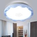 Acrylic Scalloped LED Flush Light Modern Fashion Single Head Ceiling Lamp in Blue/Gold for Restaurant