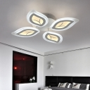 4/6 Lights Leaves Semi Flush Light Contemporary Acrylic LED Living Room Lighting in White