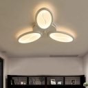 Triple Lights Oval LED Ceiling Light Minimalist Acrylic Flush Mount Light in White for Bedroom
