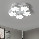 White Flower Semi Flush Mount Nordic Style Acrylic Multi Light LED Ceiling Lamp for Living Room