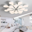2 Tiers Indoor Lighting with Gourd Shade Simplicity Acrylic Multi Light LED Semi Flush Light for Living Room