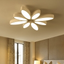 White Bloom Shape LED Ceiling Lamp with Metal Canopy Modernism Lighting Fixture