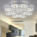Metallic Round Canopy Ceiling Light Modernism Multi Lights LED Semi Flush Light for Living Room