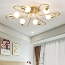 6 Lights Bare Bulb Lighting Fixture Designer Style Metallic Semi Flush Light with Curved Arm in Gold