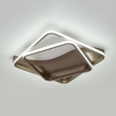 Brown 2/3 Square Frame Flush Light Contemporary Aluminum LED Ceiling Light for Corridor
