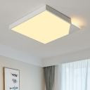 Squared Shape Ceiling Fixture with Acrylic Shade Nordic Style LED Flush Lighting in Warm/White