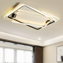 Multi-Layer LED Flush Lighting with Rectangle Contemporary Acrylic Ceiling Lamp in Warm/White