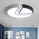 Geometric Pattern Flush Mount Light with Acrylic Shade Minimalist LED Ceiling Lamp in Warm/White