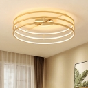 Metallic 3 Rings Ceiling Lamp Modernism Minimalist LED Lighting Fixture in Gold for Corridor
