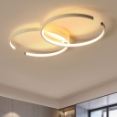 Metallic Double C Shape LED Flush Mount Modern Chic Ceiling Light in White for Restaurant