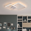 Modern Quadrate LED Flushmount Metal 1/2/3 Lights Surface Mount Ceiling Light in White