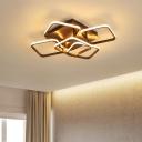 Brown 5 Square Ring Semi Flush Mount Light Contemporary Concise Aluminum LED Ceiling Lamp