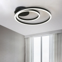 Simplicity Double Ring Flush Light Fixture Metallic Decorative LED Ceiling Lamp in Black