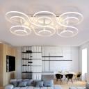 Multi Light Ring Semi Flush Light Fixture Modern Chic Aluminum LED Ceiling Lamp in Warm/White