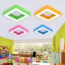 Colorful Square LED Flush Light Kindergarten Children Room Metallic Ceiling Flush Mount