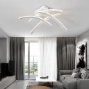 4 Curve Bar Ceiling Fixture Modern Chic Metallic LED Semi Flush Mount Lighting in Warm/White
