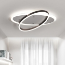 Simplicity Oval Ring LED Ceiling Light Acrylic Flush Mount in Warm/White for Dining Room