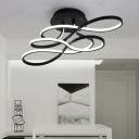 Black Twist LED Semi Flush Ceiling Light Modernism Acrylic Decorative Lighting Fixture
