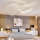 3 Halo Ring Semi Flush Ceiling Light Modern Design Metal LED Lighting Fixture in White