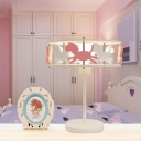 Cute Carousel 1 Light Table Light Pink and White Metal Standing Table Lamp for Girls Room