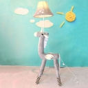 Bell 1 Head Standing Light with Unicorn Base Gray Fabric Shade Floor Lamp for Kindergarten