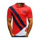 Fashion Letter CATTLE Logo Print Striped Short Sleeve Slim Fitted Polo for Men