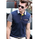 Men's Fashion Colorblocked Stripe Short Sleeve Summer Casual Polo Shirt
