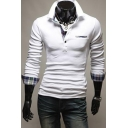Trendy Plaid Patchwork Long Sleeve Slim Fitted Polo Shirt for Men