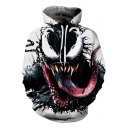 3D Tongue Pattern Sport Casual White Pullover Drawstring Hoodie