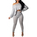 Sexy One-Shoulder Long Sleeve Cropped Top Skinny Fit Pants Plain Set for Women