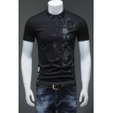 Men's Fashion Abstract Figure Print Basic Short Sleeve Cotton Fitted Black Business Polo