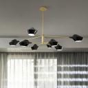 8 Lights Branch Hanging Chandelier Post Modern Hanging Lamp with Black Metal Shade