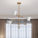 Metallic Cone Shade Hanging Light Nordic Style 3 Lights Chandelier Ceiling Light in Brass