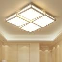 White Geometric Pattern LED Flush Light Minimalist Modernism Metal Indoor Lighting Fixture